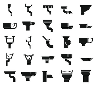Gutter cover icons set. Simple set of gutter cover vector icons for web design on white background