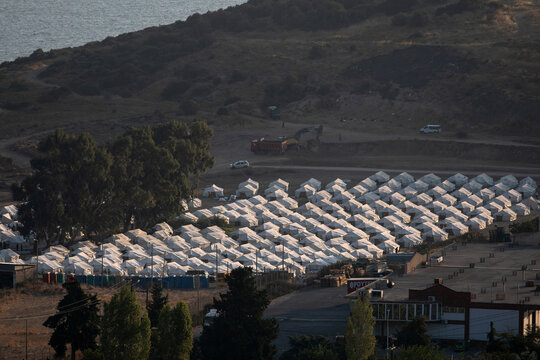 View of a temporary camp where refugees and migrants from the destroyed Moria camp will be accommodated, on the island of Lesbos