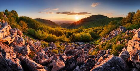 Beautiful sunrise in mountains with sun -  panorama