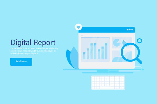 Digital marketing report, web traffic report, social media audit, seo data analysis, marketing kpi metrics , business intelligence and big data concept. Graph, chart on dashboard panel with keyboard.
