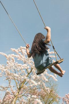 Rear view of teenage girl in blue dress enjoying on swing outdoors