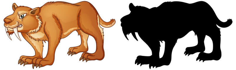 Sabertooth characters and its silhouette on white background