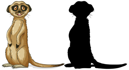 Set of meerkat characters and its silhouette on white background