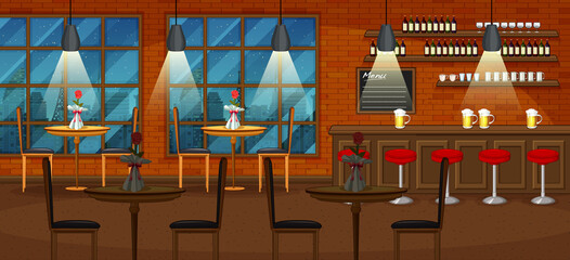 Pub and restaurant background scene