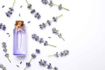 Composition with lavender flowers and natural essential oil on white background, top view