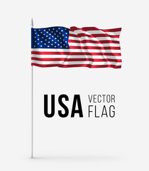 United States, USA flag on flagstaff. Wavy 3D pennant on a flagpole fluttering in the wind