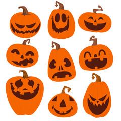 Cartoon funny halloween jack-o-lanterns set isolated. Vector illustration