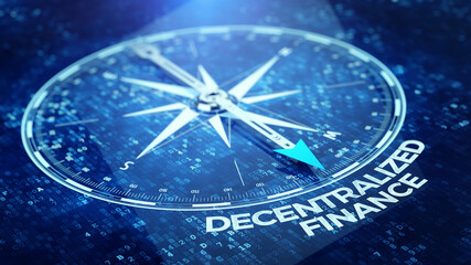 Digital compass pointing to a word DeFi - Decentralized Finance on dark blue abstract background. Concept of blockchain, decentralized financial system. 3d rendering
