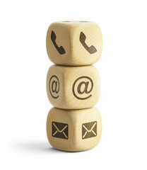 Contact us concept. Contact us icons (telephone, email, address) on wooden cubes isolated on white. 3d rendering