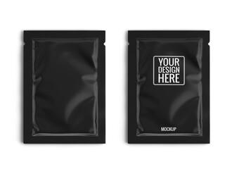 Blank black sachet packet isolated on white. Small pack sachet mockup. 3d rendering