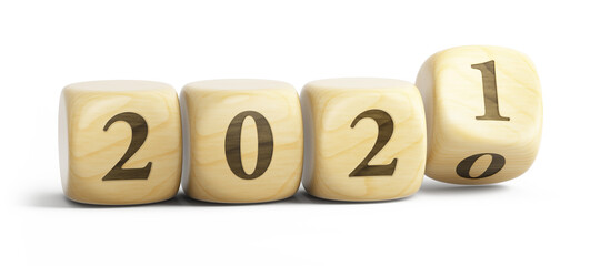 2020 year changes to 2021. Happy New 2021 Year. Wooden blocks 2021 isolated on white. 3d rendering