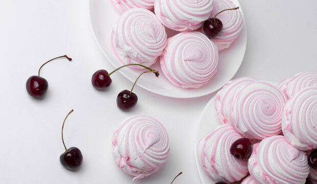 big pink marshmallows and cherries