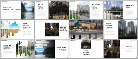 Presentation vector templates, multipurpose template for presentation slide, flyer, brochure cover, infographic report. Background template with lines, photo place for business design. Minimal style.