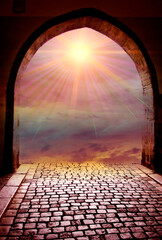 Wall Mural - beautiful gate with magic sky and divine angel light star like spiritual, religious, divine and angelic and mystic background