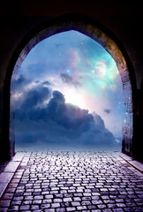 Wall Mural - beautiful gate with blue Universe, stars, cloudy sky and mystical light like angel, divine, spiritual and religious background