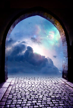 beautiful gate with blue Universe, stars, cloudy sky and mystical light like angel, divine, spiritual and religious background