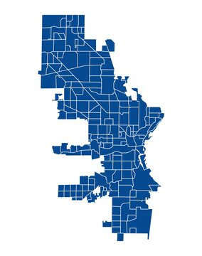 Outline blue map of Milwaukee city