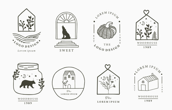 house logo collection with geometric,fox,bear,wild,star,flower.Vector illustration for icon,logo,sticker,printable and tattoo