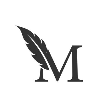 Letter m with Feather Luxury vector logo template