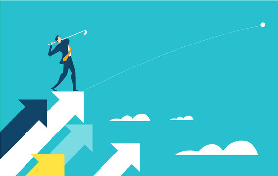 Successful businessman stands high up on arrow and playing golf as symbol of achievement and success. Business concept illustration