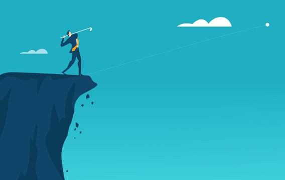Successful businessman stands high up on cliffs and playing golf as symbol of achievement and success. Business concept illustration