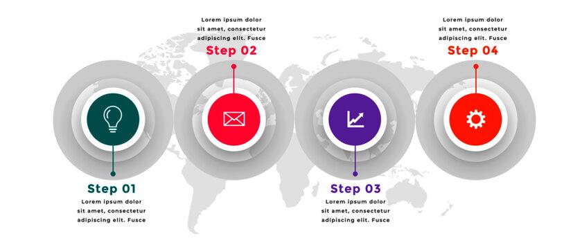 four steps modern infographic circular template design