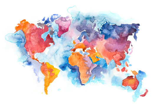 Map of the world with oceans and seas. Watercolor hand drawn