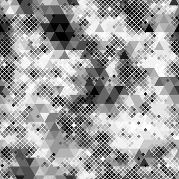 Seamless digital arctic pixel camo texture vector for army textile print