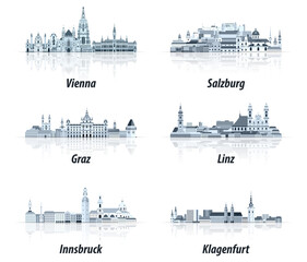 Fototapete - Austrian cities abstract cityscapes icons in tints of blue color palette