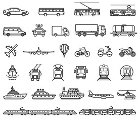 Fototapete - Transport icons. Vector isolated outline illustrations collection