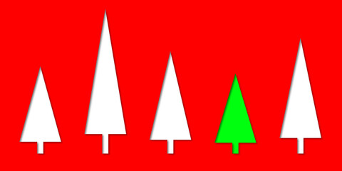 white and green Christmas  trees with shadows on a red background illustration