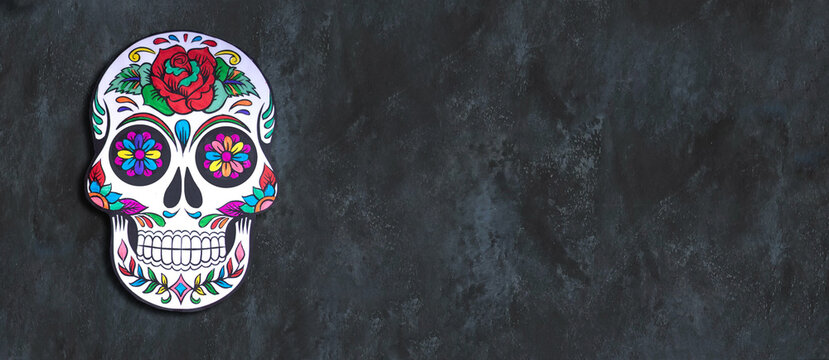 Day of the Dead. Hand painted paper Skull .