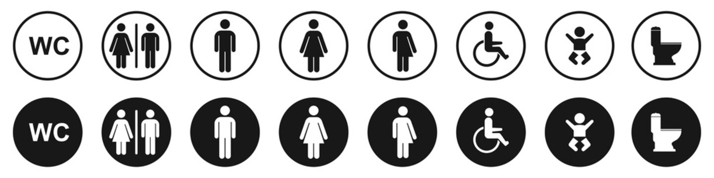 Toilet icons set, man and woman symbol,  toilet signs, WC  toilet signs,  vector illustration