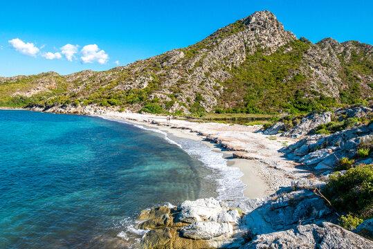 Corsica beach with turquoise sea and paradise beach. Saint Florent Corsica France.