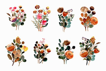 Watercolor floral bouquet collection