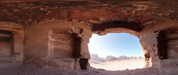 High Resolution 360 Panoramic HDR Images Taken in Petra (Wadi Mousa) and it's most famous historical landmarks, Suitable for AR VR or creating textures for desert environment