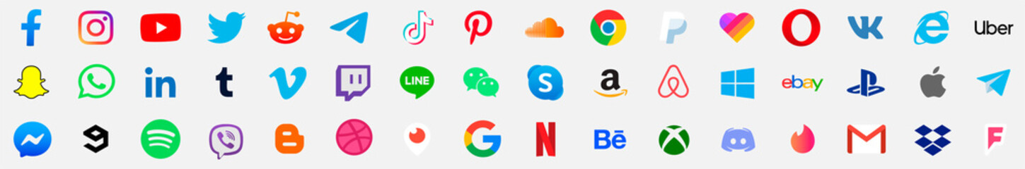 Facebook, twitter, instagram, youtube, reddit,telegram,snapchat, pinterest, tiktok ,uber, gmail, internet explorer, playstation, xbox, messenger logo. social media logo. social media vector set.