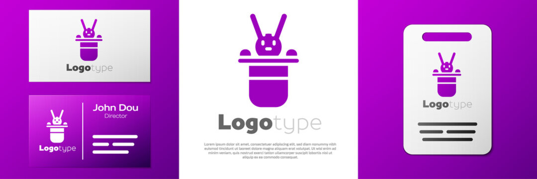 Logotype Magician hat and rabbit icon isolated on white background. Magic trick. Mystery entertainment concept. Logo design template element. Vector.