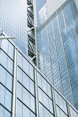 Glass facade of modern office building close-up
