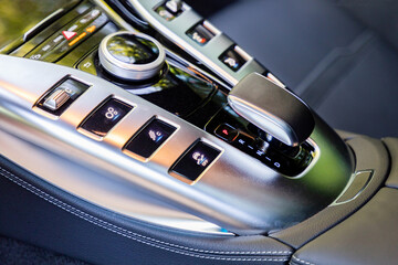 Buttons in interior of luxurious sportscar