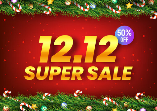 Golden December 12 super sale shopping day with christmas tree branches