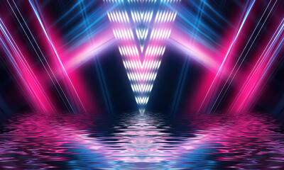 Fotomurales - Light tunnel, dark long corridor room with neon lamps. Abstract neon, background with smoke and neon light. Concrete floor, symmetrical reflection and mirroring.