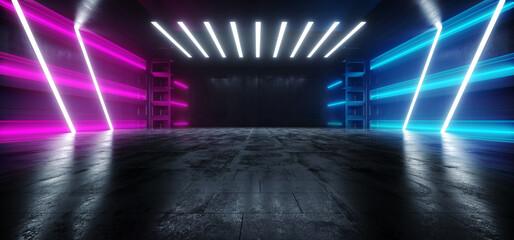 Big Large Neon Laser Blue  Purple Dark Night Warehouse Tunnel Corridor Concrete Garage Grunge Sci Fi Futuristic Underground Showcase Car Parking Empty 3D Rendering