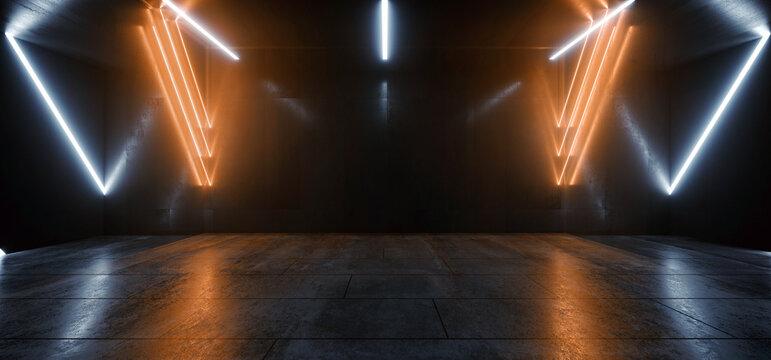 Big Large Neon Laser Blue  Yellow Orange Dark Night Warehouse Tunnel Corridor Concrete Garage Grunge Sci Fi Futuristic Underground Showcase Car Parking Empty 3D Rendering