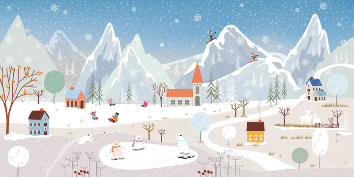 Winter landscape,Vector winter wonderland banner at village with polar bear playing ice skates,Happy kids sledding in the park and couple skiing on the mountain, Merry Christmas background