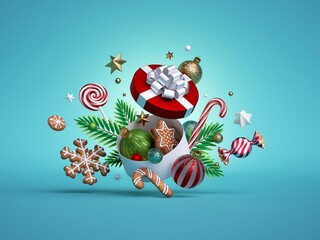 3d render, Christmas festive round gift box, decorated with fir tree twigs, gingerbread cookies and balls ornaments isolated on blue background. Objects levitate
