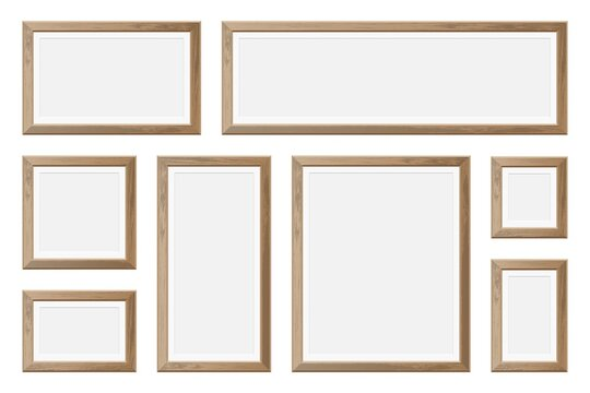 Set of realistic wooden picture frame
