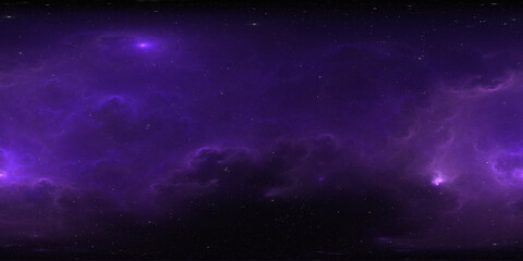 Photo sur Plexiglas Violet 360 degree space background with nebula and stars, equirectangular projection, environment map. HDRI spherical panorama.