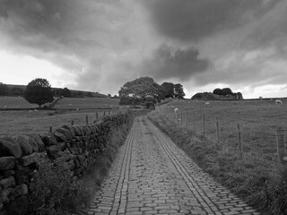 monochrome perspective view of a long narrow country lane bordered by fences and stone walls with dark cloudy sky
