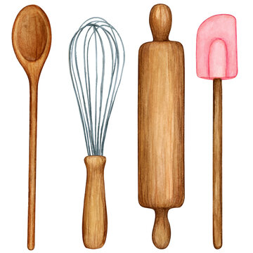 Watercolor cooking tool set wooden utensils